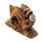 Tigers Eye Carved Chinese Dragon