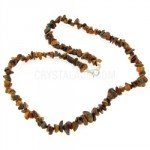 Tiger Eye Gemstone Chip Necklace with Clasp