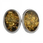 Amber & Silver Stud Earrings - Large Oval 10mm