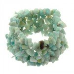 Aqua Quartz Gemstone Chip Cuff Bracelet