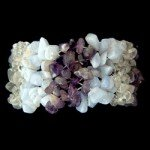 Blue Lace Agate, Amethyst & Quartz Bracelet (Wide Striped)