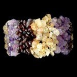Garnet, Amethyst & Citrine Bracelet (Wide Striped)