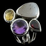 Multi Gemstone & Silver Ring  Faceted Stone Cluster size UK - Q.USA - 8