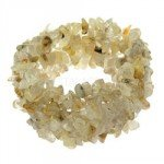 Rutilated Quartz Gemstone Chip Cuff Bracelet