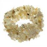 Rutilated Quartz Gemstone Chip Cuff Bracelet
