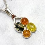 Amber & Silver 4-Stone Pendant ~18mm