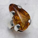 Amber & Silver Ring - Clasp set - size - UK N. USA 7