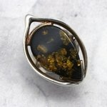 Amber & Silver Ring - Green Stone - size - UK M. USA 6.5