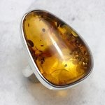 Amber and Silver Ring - Size N/7