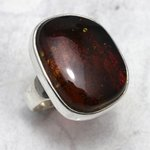 Amber and Silver Ring - Size R/9