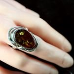 Amber and Silver Ring - Size S/9