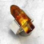 Amber & Silver Ring - size - UK L. USA 6