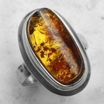 Amber & Silver Oval Ring - Ring Size US 6.5, UK M