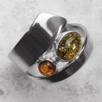 Amber & Silver Ring US 9 UK S
