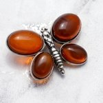 Amber Four Stone Butterfly Brooch set in .925 Silver