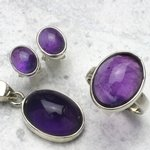 Amethyst & Silver Earrings, Pendant and Ring Set