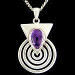 Amethyst & Silver Pendant - Droplet in Silver Spiral 30mm