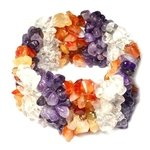Amethyst, Carnelian & Quartz Bracelet (Wide Striped)