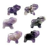 Amethyst Chevron Carved Crystal Elephant