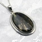 Astrophyllite & Silver Pendant - Free Oval 38mm