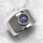 Australian Blue Opal Ring in 925 Silver