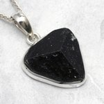 Black Tourmaline & Silver Pendant ~21mm