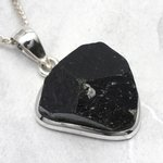 Black Tourmaline & Silver Pendant ~22mm