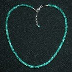 Blue Apatite Faceted Bead Necklace ~17""