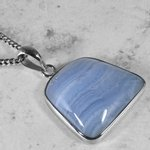 Blue Lace Agate & Silver Pendant ~22mm