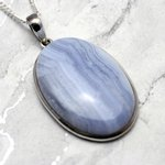 Blue Lace Agate & Silver Pendant - Oval 40mm
