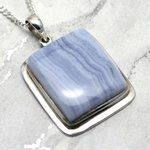 Blue Lace Agate & Silver Pendant - Rectangle 31mm