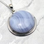 Blue Lace Agate & Silver Pendant - Round 33mm
