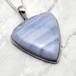 Blue Lace Agate & Silver Pendant - Soft Triangle 35mm