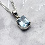 Blue Topaz & Silver Pendant - Faceted Clasp Rectangle 12mm