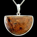 Bronzite & Silver Pendant - Shield 33mm