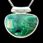 Chrysocolla & Silver Pendant - Pipe Bail 28mm