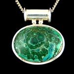 Chrysocolla with Malachite & Silver Pendant - Pipe Bail 32mm