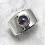 Ethiopian Fire Opal & Silver Ring - size UK - S. USA - 9