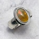 Ethiopian Fire Opal Ring in 925 Silver