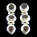 Faceted Garnet Triple Shapes Stud Earring - 28mm