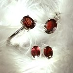 Garnet & Silver Earrings, Pendant and Ring Set