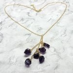 Gold Chain with 6 Raw Amethyst Drop Charms