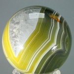Golden Green Banded Agate Crystal Sphere ~5.5cm