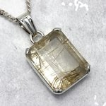 Gold Rutilated Quartz & Silver Pendant ~25mm
