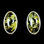 Green Amber & Silver Stud Earrings - Oval 13mm