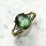 Green Tourmaline & Diamond Ring in 9ct Gold