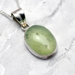 Jade & Silver Pendant - Oval 25mm