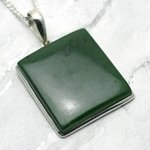 Jade & Silver Pendant - Rectangle 31mm