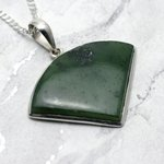 Jade & Silver Pendant Rounded Triangle 37mm