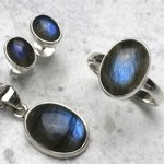 Labradorite & Silver Earrings, Pendant and Ring Set